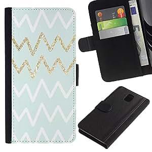 For Samsung Galaxy Note 3 III Case , Pattern Lines Zig Zaf White Golden - la tarjeta de Crédito Slots PU Funda de cuero Monedero caso cubierta de piel