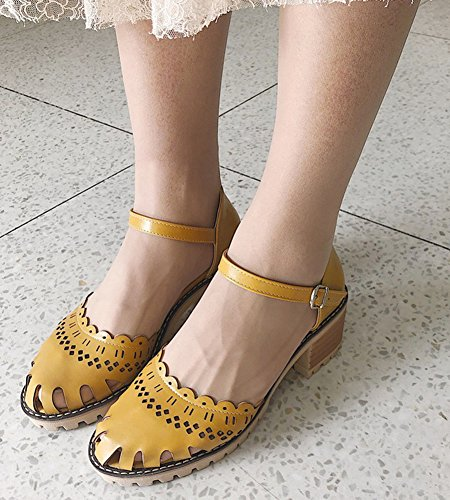 Fille Aisun Voyage Jaune Femme Bloc Mary Talon Janes Cheville Confortable Bride Z0wZqxr6