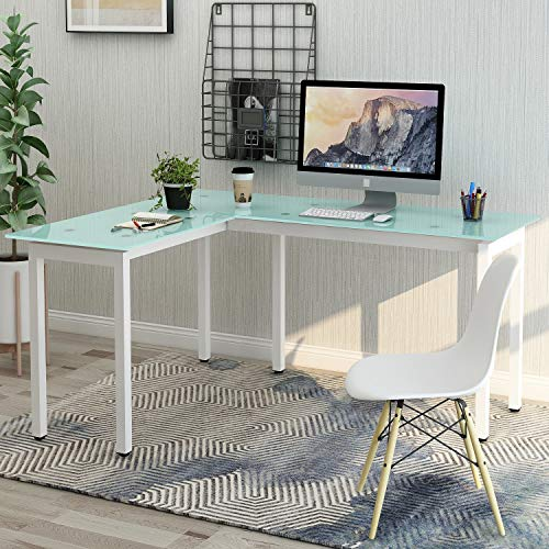 P PURLOVE L-Shaped Office Desk Corner Computer Desk PC Laptop Table Workstation with Tempered Glass Top & Metal Frame (White)