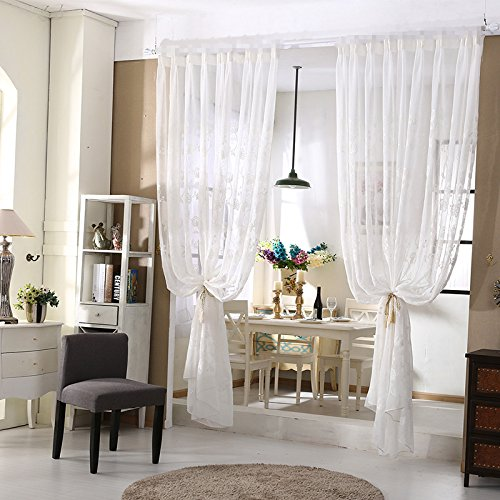 WPKIRA Window Treatments Romantic Home Decor Perpective Floral Embroidered Rod Pocket Top Extra Wide Sheer Voile Window Curtains/drape/panels/treatment Linen Sheer