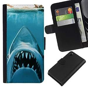 All Phone Most Case / Oferta Especial Cáscara Funda de cuero Monedero Cubierta de proteccion Caso / Wallet Case for Sony Xperia Z3 D6603 // KILLER WHITE SHARK