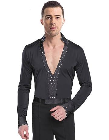 BOZEVON Hombres Clásico Mangas Largas Negro Latín Baile Camisa   Pantalones  Actuación Ropa Escénica Disfraces Moda 8ef7792c3c8