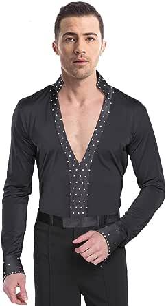 KINDOYO Hombres Clásico Mangas Largas Latín Baile Negro Camisa & Pantalones Actuación Ropa Escénica Disfraces Moda Bailando Jazz Trajes: Amazon.es: Ropa y accesorios