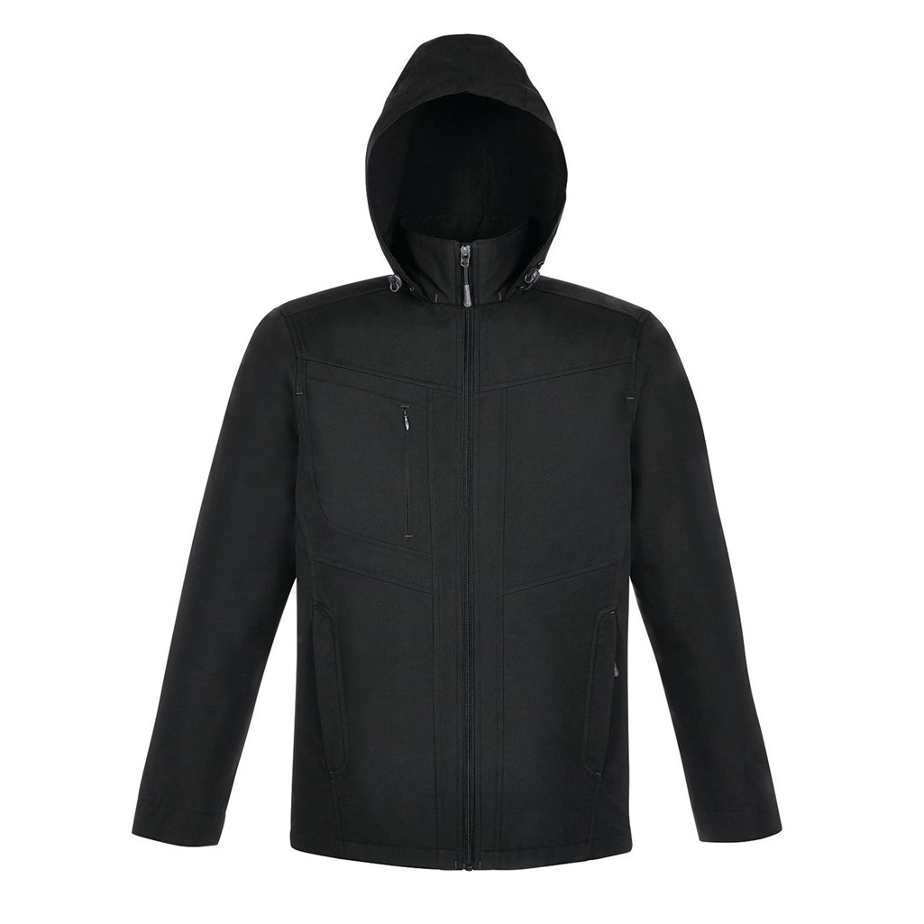 North End Forecast Mens 3-Layer Bonded Travel Soft Shell Jacket (Small, Black/Carbon)
