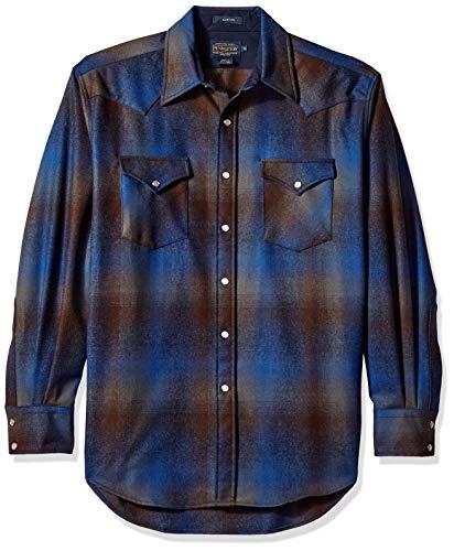 Pendleton Men's Long Sleeve Button Front Classic-fit Canyon Shirt, Brown/Blue Ombre, XXL