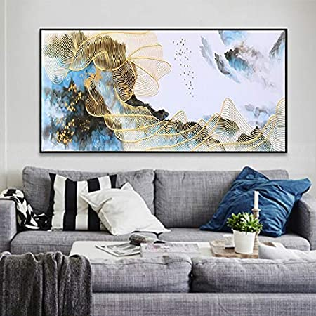 OCWTCH canvas painting wall art pictures for living room Gold art home wall  decor original acrylic abstract line texture 20X40Inch B Style:  Amazon.co.uk: Kitchen & Home