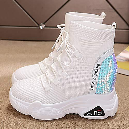 Con Redonda Running Blanco De Mujeres 39 Deportivas yq Mzq Zapatos Elásticos Confort Tamaño Las Zapatillas Delantera 35 Negro White Correa Cabeza Calcetines qfx6nFw7