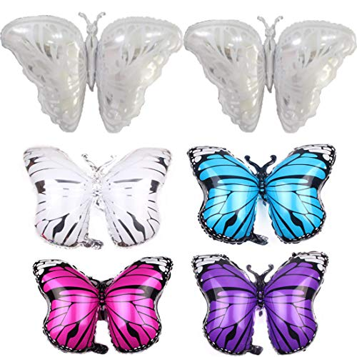 Butterfly Balloons Set of 6, Butterfly Helium Balloons Decor Fit for Various Party - Wedding, Birthday Party, Summer Party and More (Sliver: 42×26in, Others:27×20in)]()