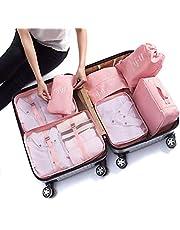 Bolsas de Viaje 7 en 1, LONK Organizador de Equipaje Viaje Incluido 3 Bolsas de Malla/Lavandería Bolsa/Bolsa Artículos Tocador/Bolsa Zapatos/Bolsa Ropa Interior, Ideal para Viaje