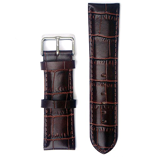 Leather Croco Embossed Brown 22 Millimeters Watch Strap