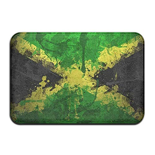 fox-kyt Jamaica Flag Color Symbol Front Door Mat Large Outdoor Indoor Entrance Doormat -Waterproof Low Profile Door Mats Stylish Welcome Mats Garage Patio Snow Scraper Front Doormats