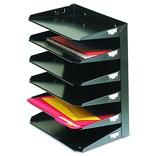 MMF Industries 6-Tier Letter-Size Horizontal Steel Desk Organizer, Black (2646HBK) (Horizontal Mmf Steelmaster Organizer)