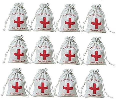 AmaJOY Bolsas de regalo para boda hechas de algodón con cuerda de muselina, con diseño de cruz roja y texto en inglés «Hangover kit, recovery kit», 10 x 15cm, 20 unidades
