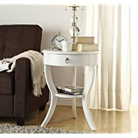 Modern Wood Accent Nightstand End Sofa Table Round Shaped with Storage Drawer and Bottom Shelf - Includes Modhaus Living Pen (White)