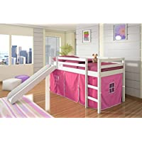 Kids Twin Low Loft Bed w/ Slide and Tent - White w/ Pink Tent