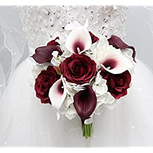 Angel Isabella Beautiful Hand-tied bouquet-hydrangea Rose Calla lily-colors in Navy Wine Burgundy Fuchsia Raspberry Mint Spa Coral Turquoise Horizon Blue 12