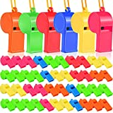 48pcs Plastic Whistles, YGDZ Training Sports Plastic Whistles with Nylon Braided Cord Lanyards, Toys Whistles for Party Favors Goody Bag, 6 Colors