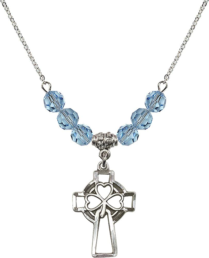 Bonyak Jewelry 18 Inch Rhodium Plated Necklace w// 6mm Blue March Birth Month Stone Beads and Shamrock Cross
