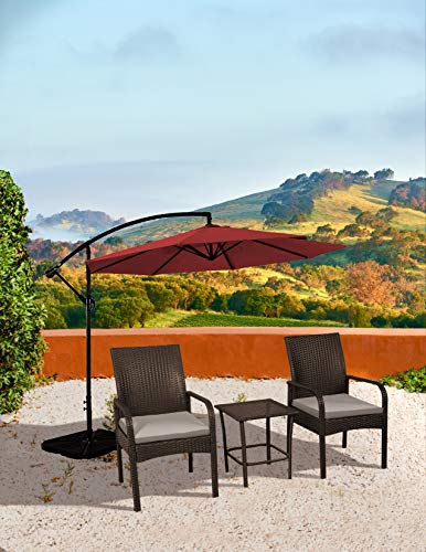 - WO WESTIN OUTDOOR Sonoma 3 Piece Wicker All-Weather Resin Rattan Conversation Bistro Set with Cushions (Brown)
