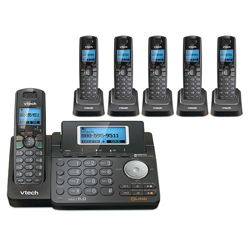 VTech DS6151-11 DECT 6.0 2-Line Expandable Cordless Phone + (5) DS6101-11 Accessory Handset, Black (Line Display 5)