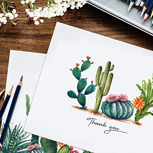 Thank You Cards 36 Bulk Blank Folded Watercolor Cactus Thank You Notes With Self Seal Envelopes - 6 Design, 4 x 6 inch - Perfect for Wedding, Bridal Party, Baby Shower, Graduation,Business,Friends Photo #7