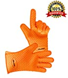 Gelindo Silicon Oven Mitts, 1 Pair, FDA Approved BBQ Insulated Gloves w/ 5-Finger Anti Slip Grip - Best for Grilling & Holding Hot Pots- Heat Resistant Up to 425° -Waterproof, BPA-Free & Eco-friendly