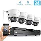 Amcrest 4K 8CH Security Camera System w/ H.265 4K (8MP) NVR, (4) x 3-Megapixel IP67 Weatherproof Metal Dome Wi-Fi IP Cameras (2304x1296P), 3.6mm Wide Angle Lens, 98ft Nightvision (White)