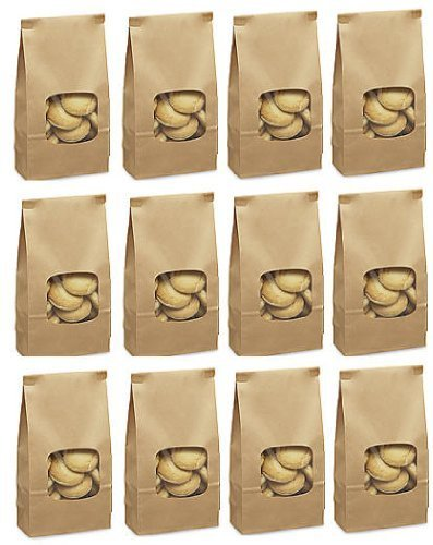 25 1lb. Tin Tie Bakery Bags With Window - Kraft ()