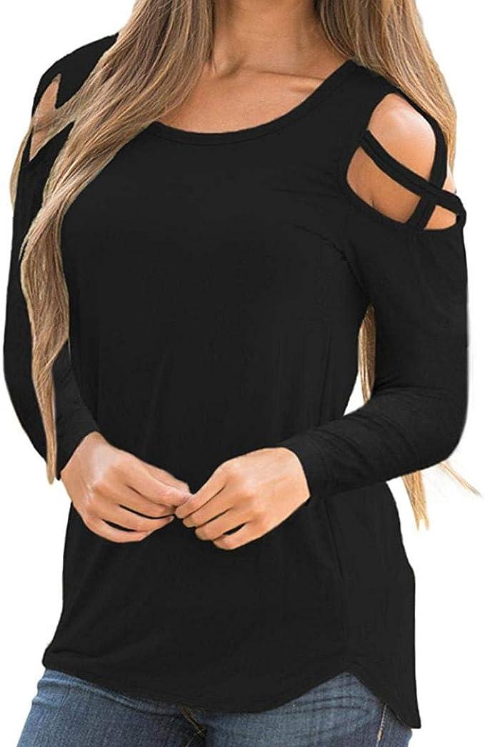 Womens Summer Cold Shoulder T-Shirt Blouse Casual Beach Tops Basic Tee Shirts