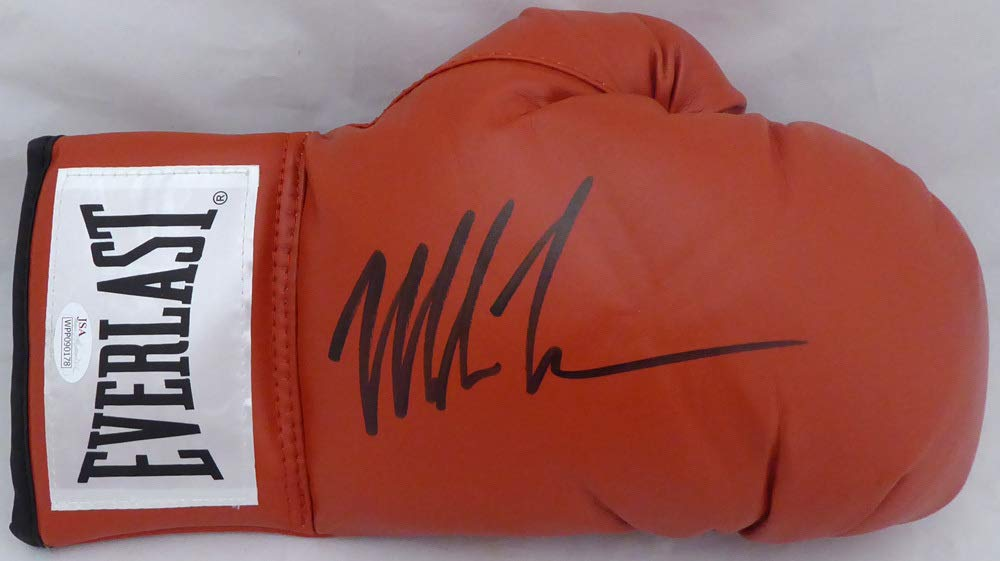 Mike Tyson Autographed Red Everlast Boxing Glove RH Signed In Black JSA
