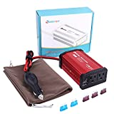 Car Power Inverter 300W DC 12V to 110V AC Quesvow Converter with 4.8A Dual USB Car Charger Adapter-Red