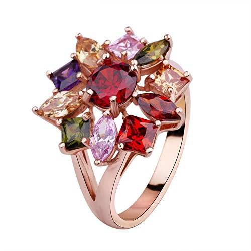 PSRINGS Gold plated Mona Lisa Engagement Rings Multicolor Zircon Jewelry 8.0