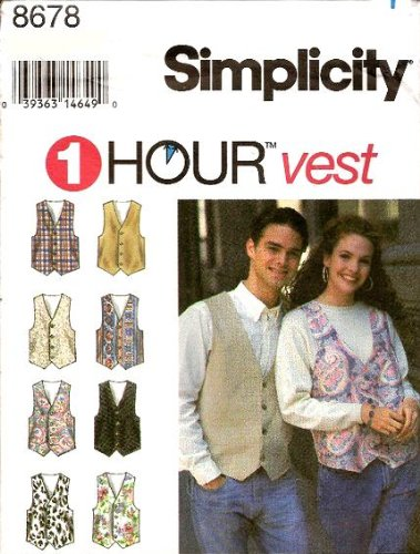 (Simplicity Sewing Pattern 8678 Misses', Men's or Teen Boy's Lined Vest, Chest/Bust 42-48)