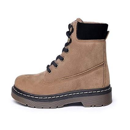 FMWLST Botas Zapatos Oxford De Invierno para Mujer con Botines Planos De Madera para Mujer,