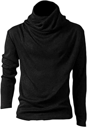 KLJR Men Casual Long Sleeve Turtleneck Solid Pullover Sweaters