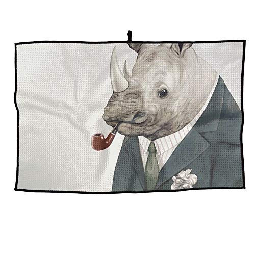 HenSLK Rhino Art Rhinoceros Grid Microfiber Cooling Golf Towel Light Weight & Quick Drying & Super Absorbent Sport Travel Towel for Activities