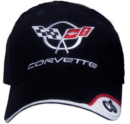 A&E Designs Chevy Corvette C5 DELUXE Fine Embroidered Vette Hat Cap, Black