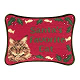 6.5x9 Inches Needle Point Christmas Pillow, Santa's Favorite Cat