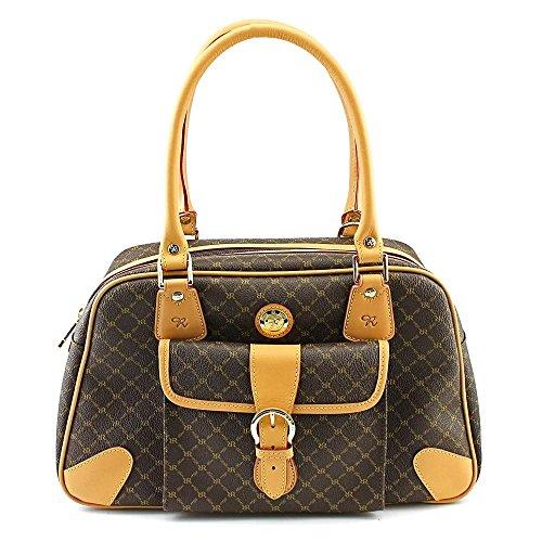 Signature Satchel Handbag - Rioni Signature Satchel Carrier (Signature Brown)