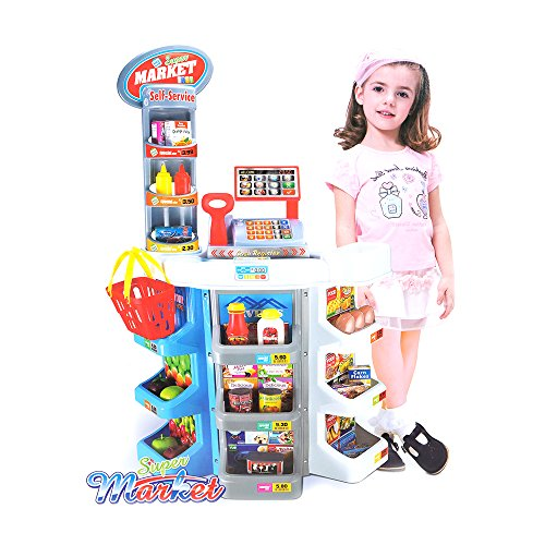 COLORTREE Kids Grocery Supermarket Shop Stand and Cash Register Play Set Toy Grocery Shop