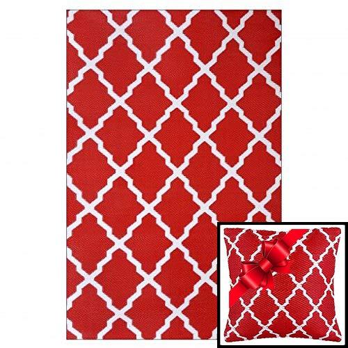 Ambientair Alfombra Exterior 150x240. Rojo más cojín de Regalo