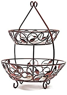 "Circleware 00726 Leaf Design Bronze Metal 2-Tier Round Fruit Storage Wire Display Basket Bowl for Food, Vegetables, Best Selling Home & Kitchen Table Counter Cabinet Gift, 17""x21"", Cyber Monday Deal (B01LWJCZB1) 