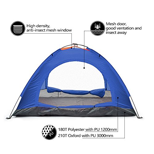 Odoland 2 Person 4 Seasons Portable Outdoor Folding Tent Waterproof 2 Doors Fiberglass for Outdoor Camping Hiking Dome Tent Double-Person Backpacking Tent