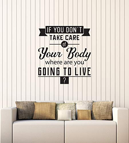 Vinyl Wall Decal Healthy Quote Spa Salon Gym Medical Office Interior Stickers Mural Large Decor (ig5742) black by WallStickers4ever