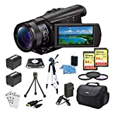 Sony FDRAX100/B Camera (Black) Bundle w/ 64GB Memory Card(2), Gadget Bag, Battery(2), Battery Charger, Filter Kit, HDMI Cable, Card Reader, Full Size Tripod, Mini Tripod, and more