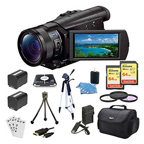 Sony FDRAX100/B Camera (Black) Bundle w/ 64GB Memory Card(2), Gadget Bag, Battery(2), Battery Charger, Filter Kit, HDMI Cable, Card Reader, Full Size Tripod, Mini Tripod, and more by Sony