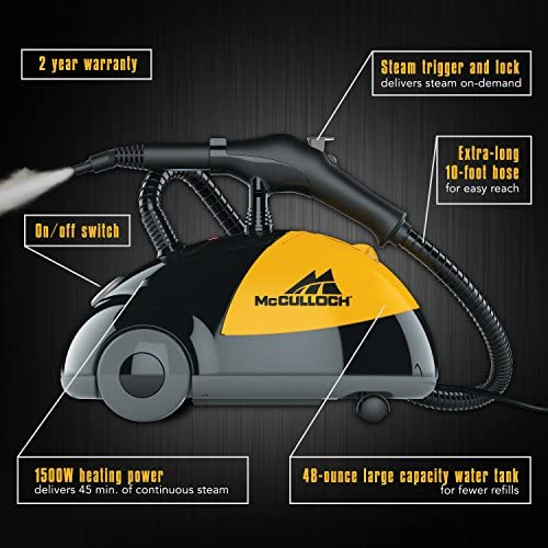 McCulloch MC1275 Heavy-Duty Steam Cleaner with 18 Accessories, Extra-Long Power Cord, Chemical-Free Pressurized Cleaning for Most Floors, Counters, Appliances, Windows, Autos, and More 510OTuysh1L