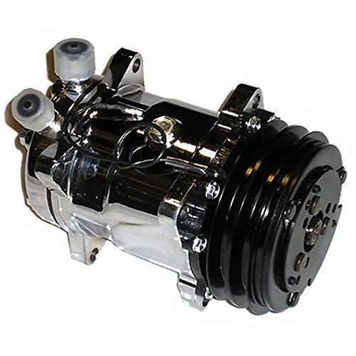 A/C AC Air Conditioning Compressor V-Belt Pulley Sanden 508 Style Chrome Hot Rod ()