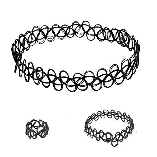 JANE STONE Choker Black Stretch Gothic Jewelry Set Tattoo Henna Necklace Bracelet Ring Set (Fn1450-set)