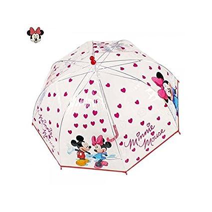 Disney Mickey y Minnie 45cm paraguas rojo paraguas niños paraguas niñas corazones flores transparentes transparentes
